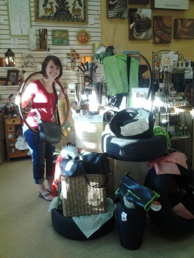 Alice May with our tire display! We have lots of unique recycled-tire products from Ganesh Himal of Nepal, Sapia of Colombia, and Noah's Ark of India.