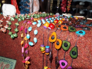 Colorful necklaces from all over the globe