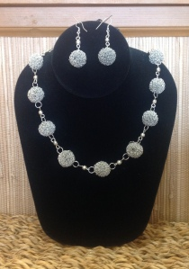 Silvery Spheres Necklace & Earrings Set, India, $39
