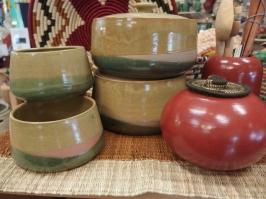 Green tureen & bowls, Cameroon, $59; Sienna ceramic canisters, Nicaragua, Oyanca Artisania, $