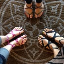 Matching Sseko Sandals on the new Ten Thousand Villages welcome mat!